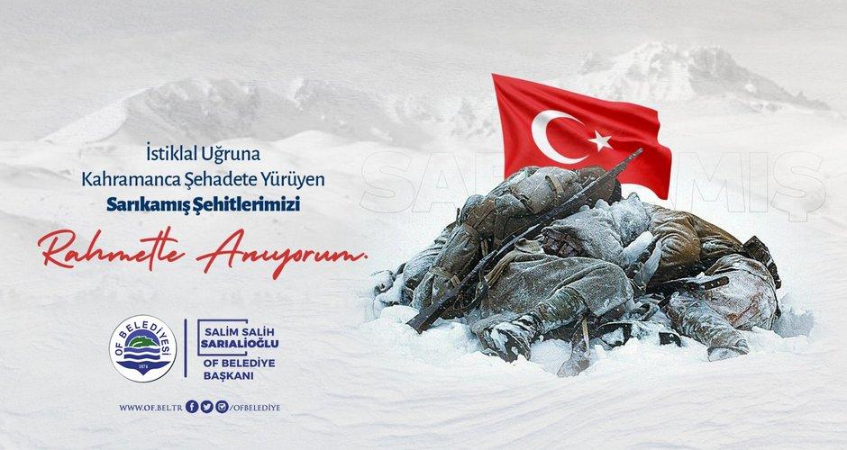 Başkan Sarıalioğlu'ndan Sarıkamış Şehitlerimizi Anma Mesajı