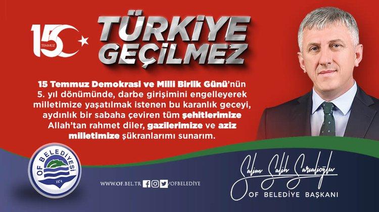 Başkan Sarıalioğlu'ndan 15 Temmuz Demokrasi ve Milli Birlik Günü mesajı